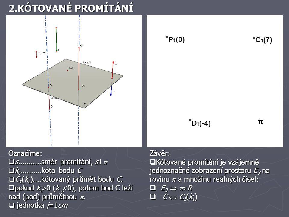 2.KÓTOVANÉ PROMÍTÁNÍ Označíme:  s...........směr promítání, s   k c..........kóta bodu C  C 1 (k c )....kótovaný průmět bodu C.  pokud k c  0 (