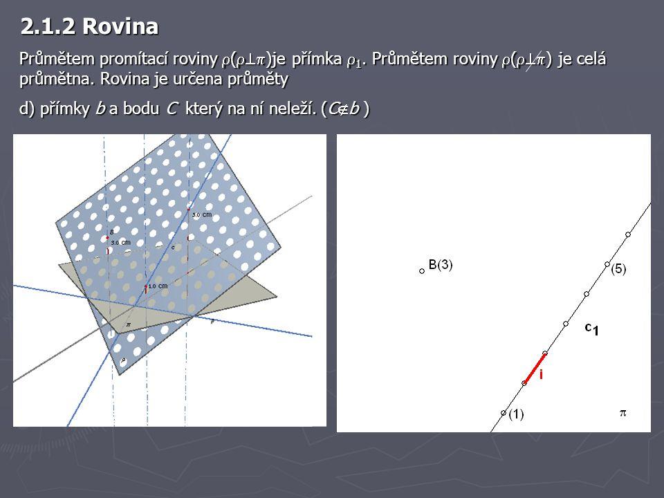 2.1.2 Rovina Průmětem promítací roviny  (  )je přímka  1. Průmětem roviny  (  ) je celá průmětna. Rovina je určena průměty d) přímky b a bodu