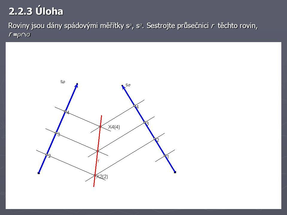 2.2.3 Úloha Roviny jsou dány spádovými měřítky s , s . Sestrojte průsečnici r těchto rovin, r 