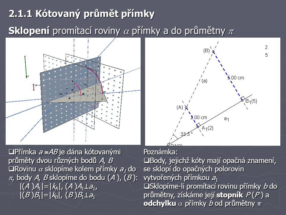  K nalezení bodů X s celočíselnou kótou poslouží osnova hlavních přímek v promítací rovině   pravoúhlé trojúhelníky v obrázku jejichž přepony leží na přímce a jsou shodné a platí |A 1 X 1 |=|X 1 X 2 |=|X 2 X 3 | 2.1.1 Kótovaný průmět přímky Stupňování přímky b (b  AB ) je sestrojení takových bodů na přímce b, jejichž kóty jsou celočíselné
