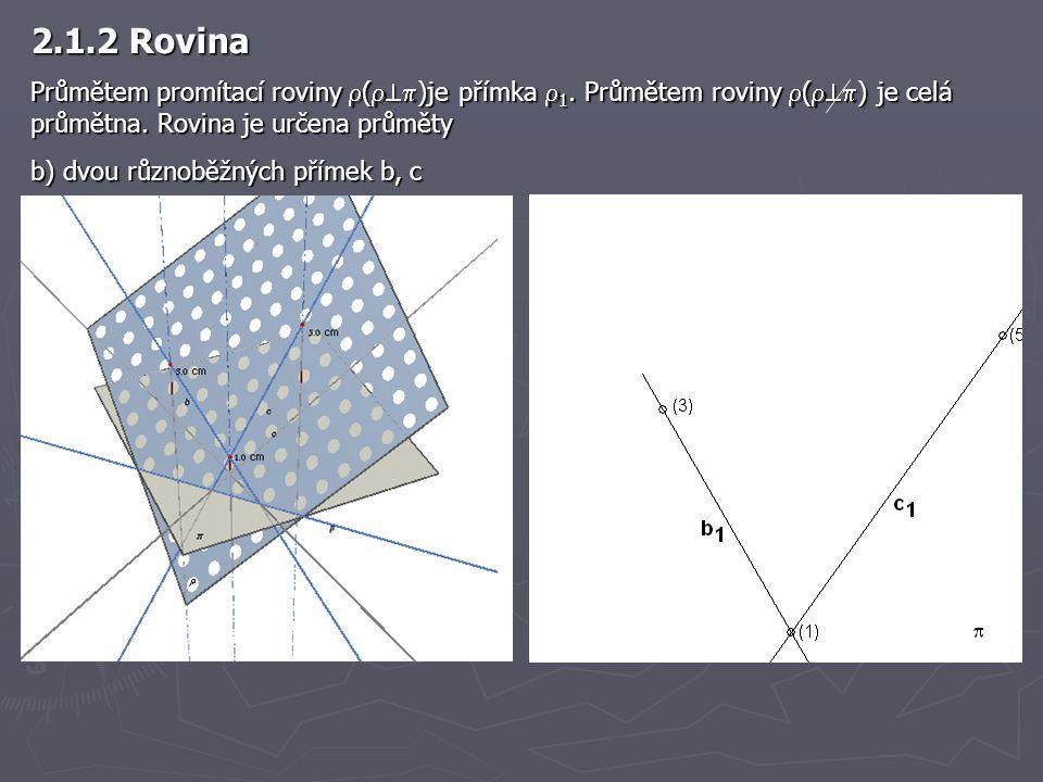 2.1.2 Rovina Průmětem promítací roviny  (  )je přímka  1. Průmětem roviny  (  ) je celá průmětna. Rovina je určena průměty b) dvou různoběžný