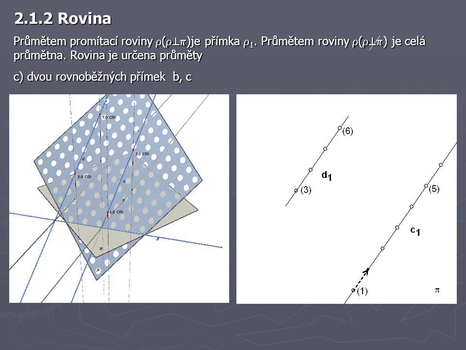 2.1.2 Rovina Průmětem promítací roviny  (  )je přímka  1. Průmětem roviny  (  ) je celá průmětna. Rovina je určena průměty c) dvou rovnoběžný