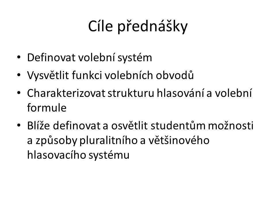Cíle přednášky Definovat volební systém Vysvětlit funkci volebních obvodů Charakterizovat strukturu hlasování a volební formule Blíže definovat a osvětlit studentům možnosti a způsoby pluralitního a většinového hlasovacího systému