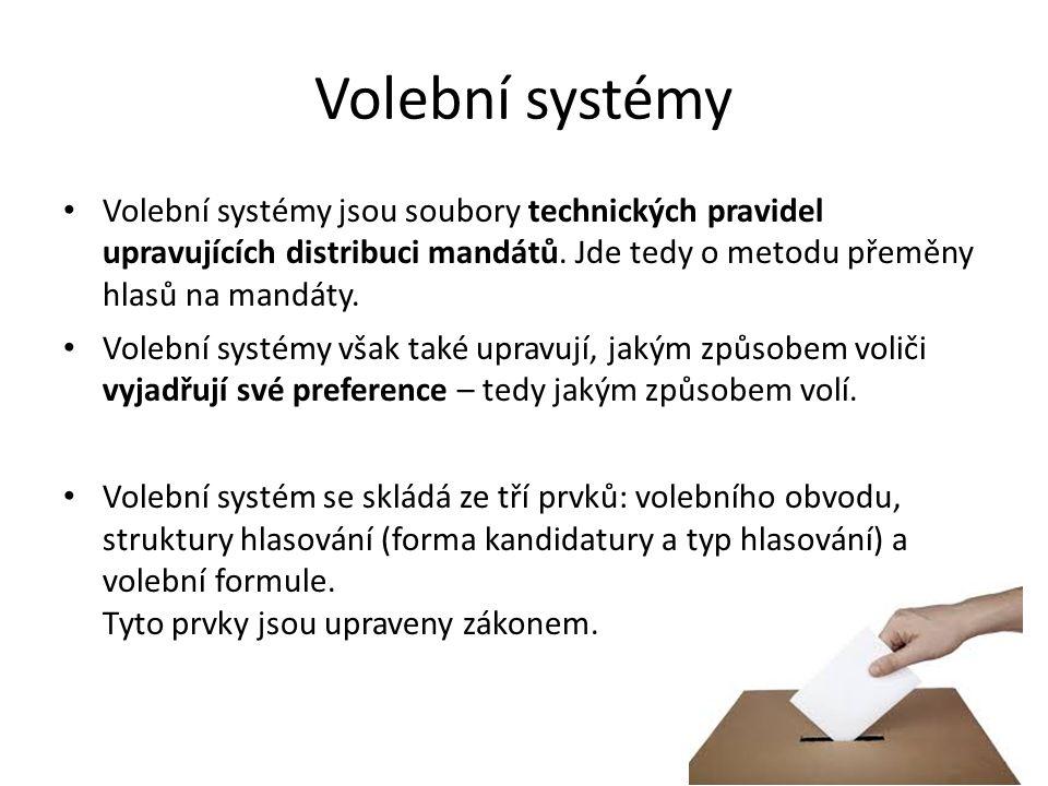Volební systémy Volební systémy jsou soubory technických pravidel upravujících distribuci mandátů.