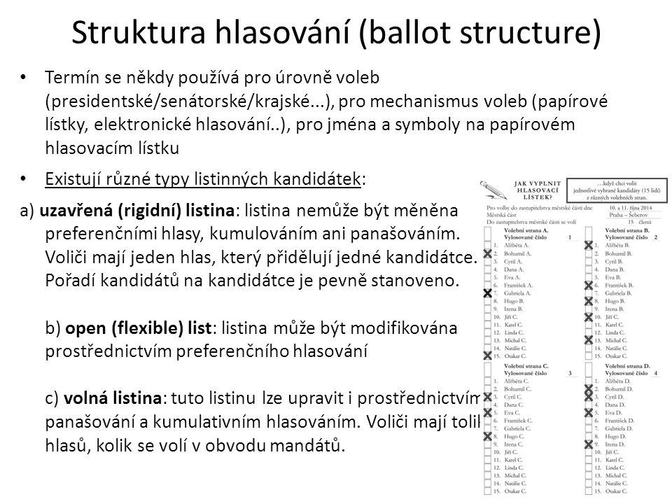 Struktura hlasování (ballot structure) Termín se někdy používá pro úrovně voleb (presidentské/senátorské/krajské...), pro mechanismus voleb (papírové lístky, elektronické hlasování..), pro jména a symboly na papírovém hlasovacím lístku Existují různé typy listinných kandidátek: a) uzavřená (rigidní) listina: listina nemůže být měněna preferenčními hlasy, kumulováním ani panašováním.