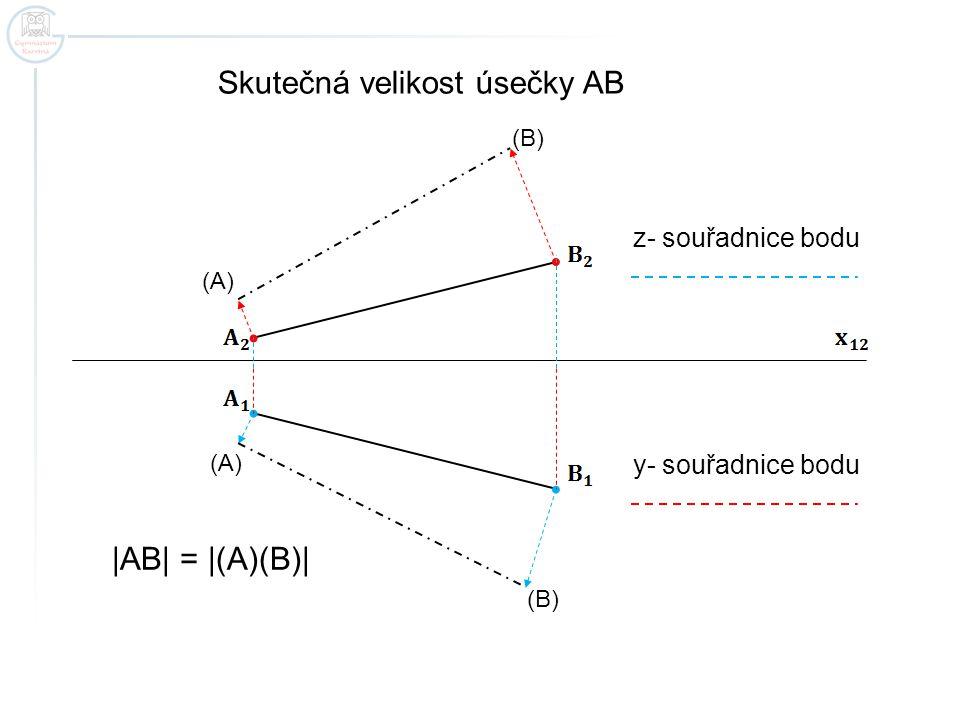 Skutečná velikost úsečky AB (A) (B) |AB| = |(A)(B)| z- souřadnice bodu y- souřadnice bodu