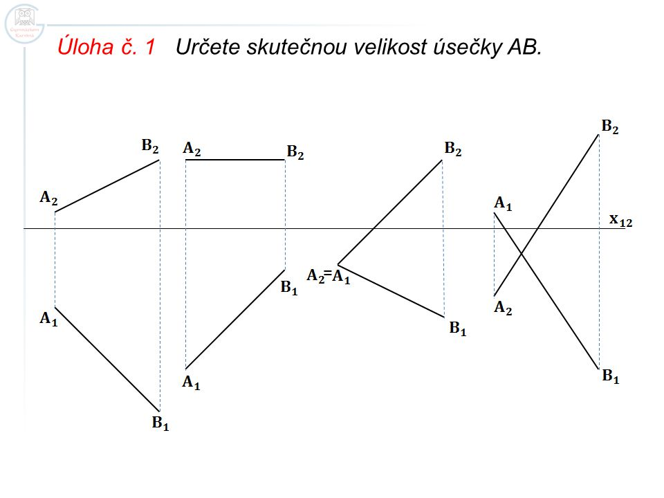Úloha č. 2 Určete skutečnou velikost úsečky AB.