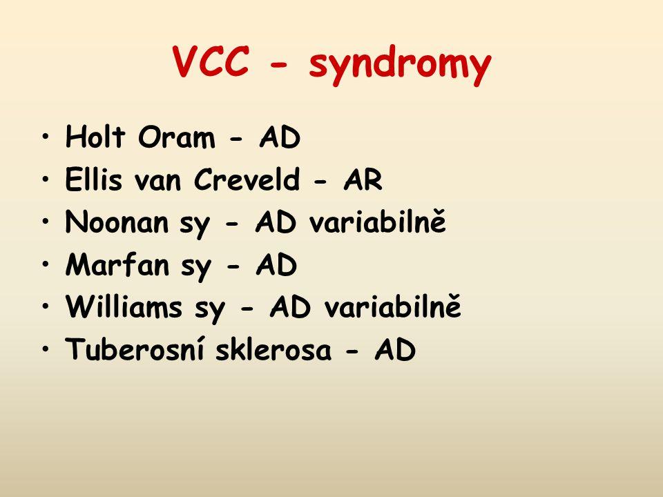 VCC - syndromy Holt Oram - AD Ellis van Creveld - AR Noonan sy - AD variabilně Marfan sy - AD Williams sy - AD variabilně Tuberosní sklerosa - AD