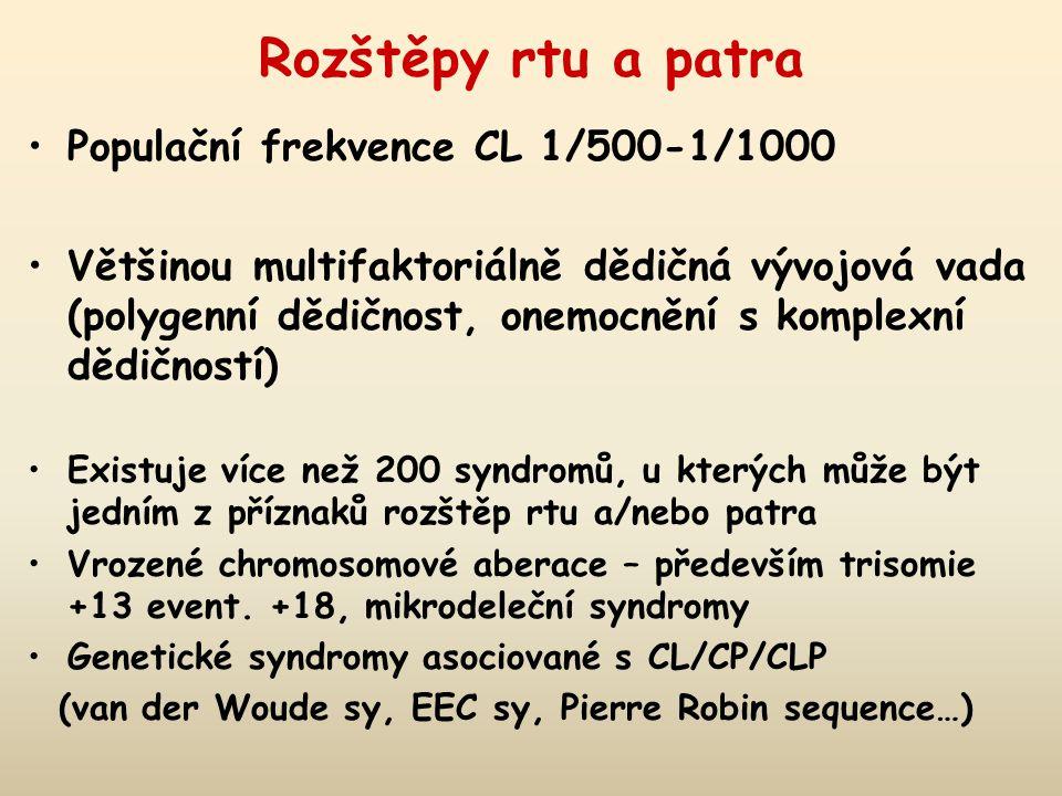 Rozštěpy rtu a patra Populační frekvence CL 1/500-1/1000 Většinou multifaktoriálně dědičná vývojová vada (polygenní dědičnost, onemocnění s komplexní dědičností) Existuje více než 200 syndromů, u kterých může být jedním z příznaků rozštěp rtu a/nebo patra Vrozené chromosomové aberace – především trisomie +13 event.
