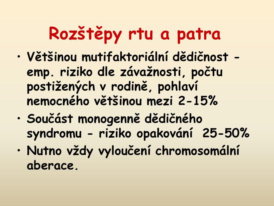 Rozštěpy rtu a patra Většinou mutifaktoriální dědičnost - emp. riziko dle závažnosti, počtu postižených v rodině, pohlaví nemocného většinou mezi 2-15