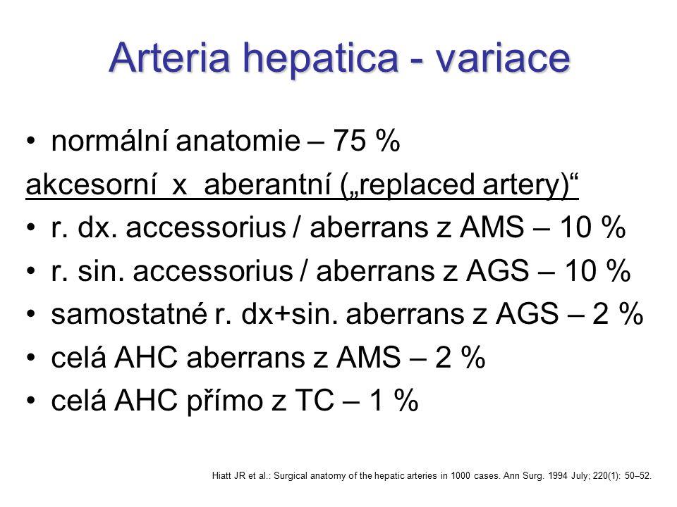 "Arteria hepatica - variace normální anatomie – 75 % akcesorní x aberantní (""replaced artery)"" r. dx. accessorius / aberrans z AMS – 10 % r. sin. acces"