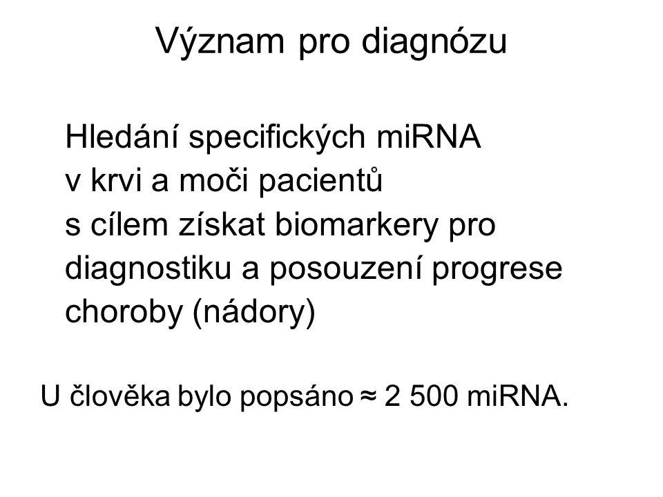 Význam pro diagnózu Hledání specifických miRNA v krvi a moči pacientů s cílem získat biomarkery pro diagnostiku a posouzení progrese choroby (nádory)