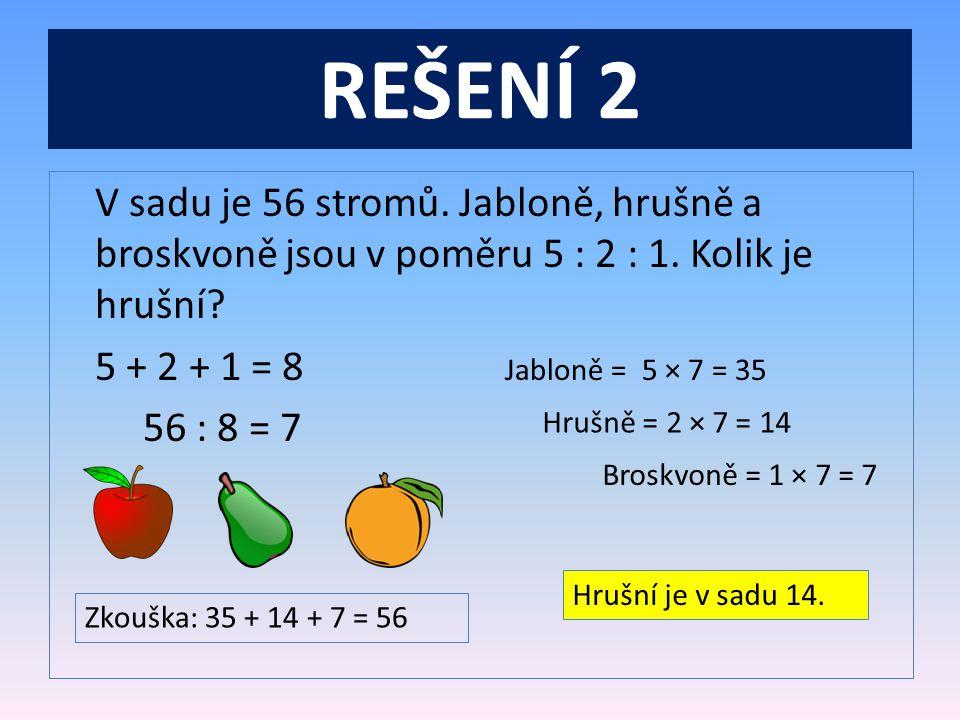 REŠENÍ 2 V sadu je 56 stromů.Jabloně, hrušně a broskvoně jsou v poměru 5 : 2 : 1.