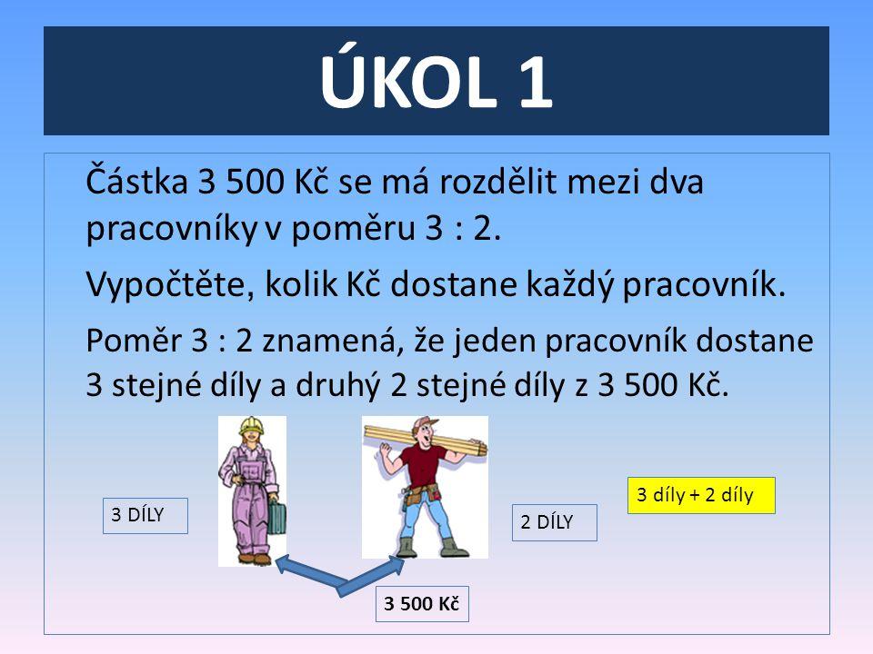 ÚKOL 1 Částka 3 500 Kč se má rozdělit mezi dva pracovníky v poměru 3 : 2.