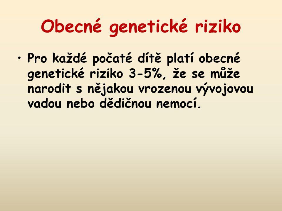 Obecné genetické riziko Pro každé počaté dítě platí obecné genetické riziko 3-5%, že se může narodit s nějakou vrozenou vývojovou vadou nebo dědičnou nemocí.