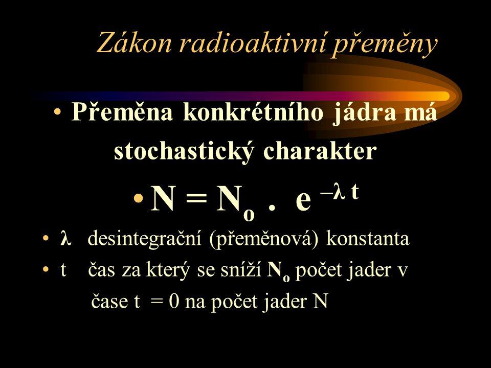 Zákon radioaktivní přeměny Přeměna konkrétního jádra má stochastický charakter N = N o. e –λ t λ desintegrační (přeměnová) konstanta t čas za který se