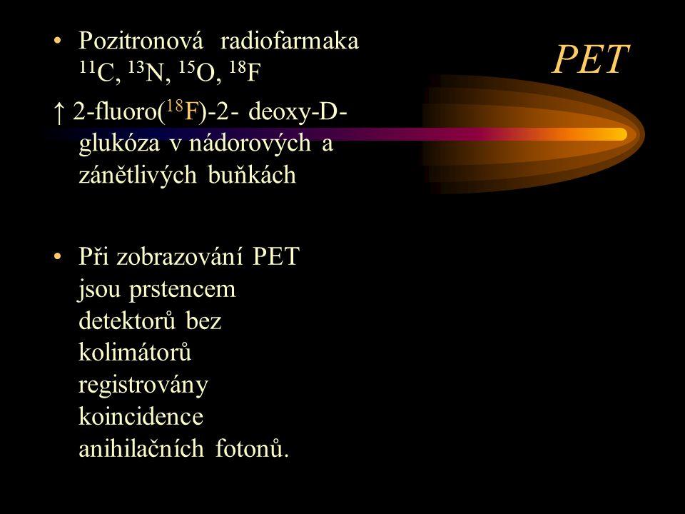 PET Při zobrazování PET jsou prstencem detektorů bez kolimátorů registrovány koincidence anihilačních fotonů. Pozitronová radiofarmaka 11 C, 13 N, 15