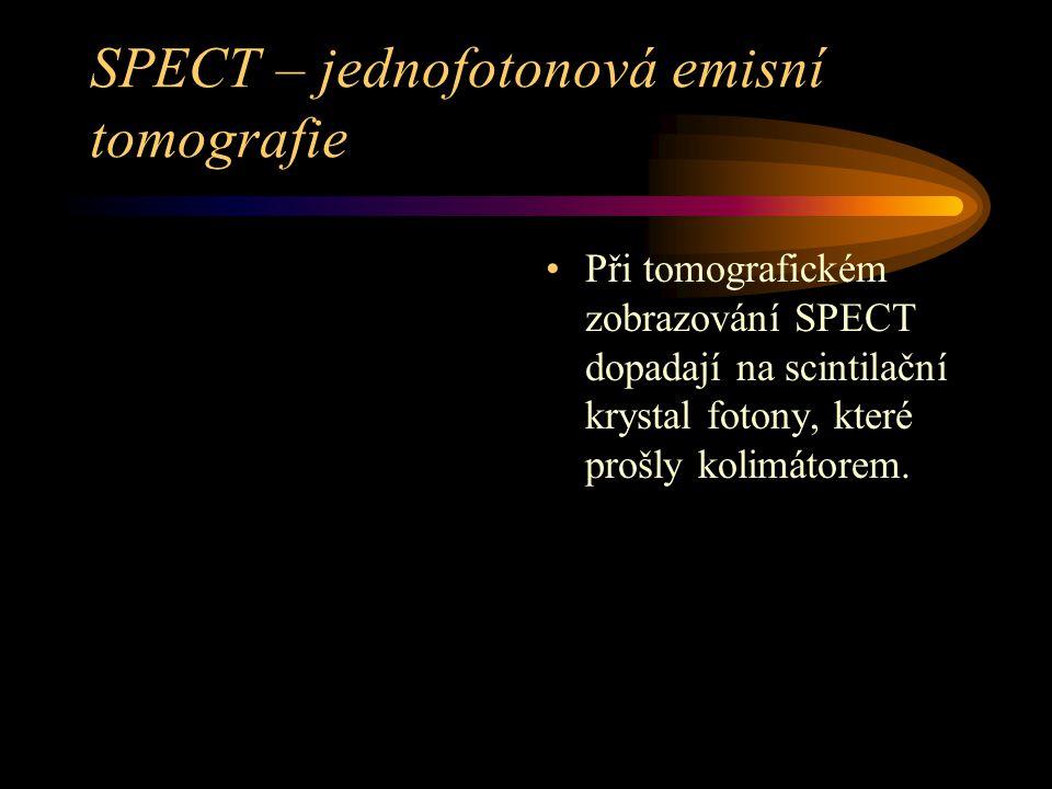 SPECT – jednofotonová emisní tomografie Při tomografickém zobrazování SPECT dopadají na scintilační krystal fotony, které prošly kolimátorem.