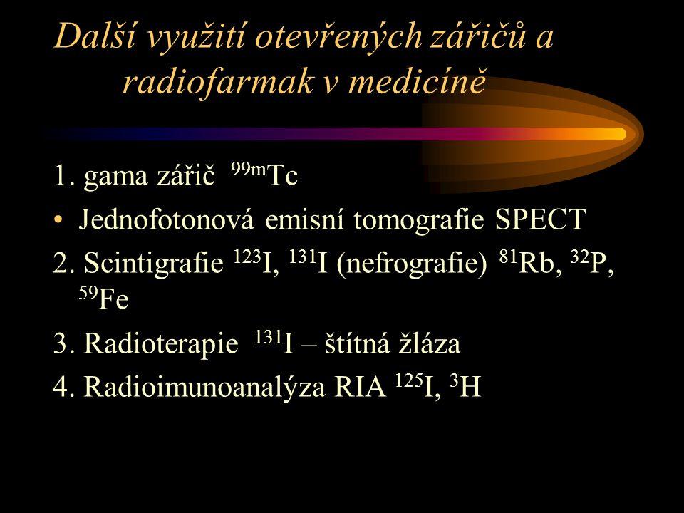 Další využití otevřených zářičů a radiofarmak v medicíně 1. gama zářič 99m Tc Jednofotonová emisní tomografie SPECT 2. Scintigrafie 123 I, 131 I (nefr