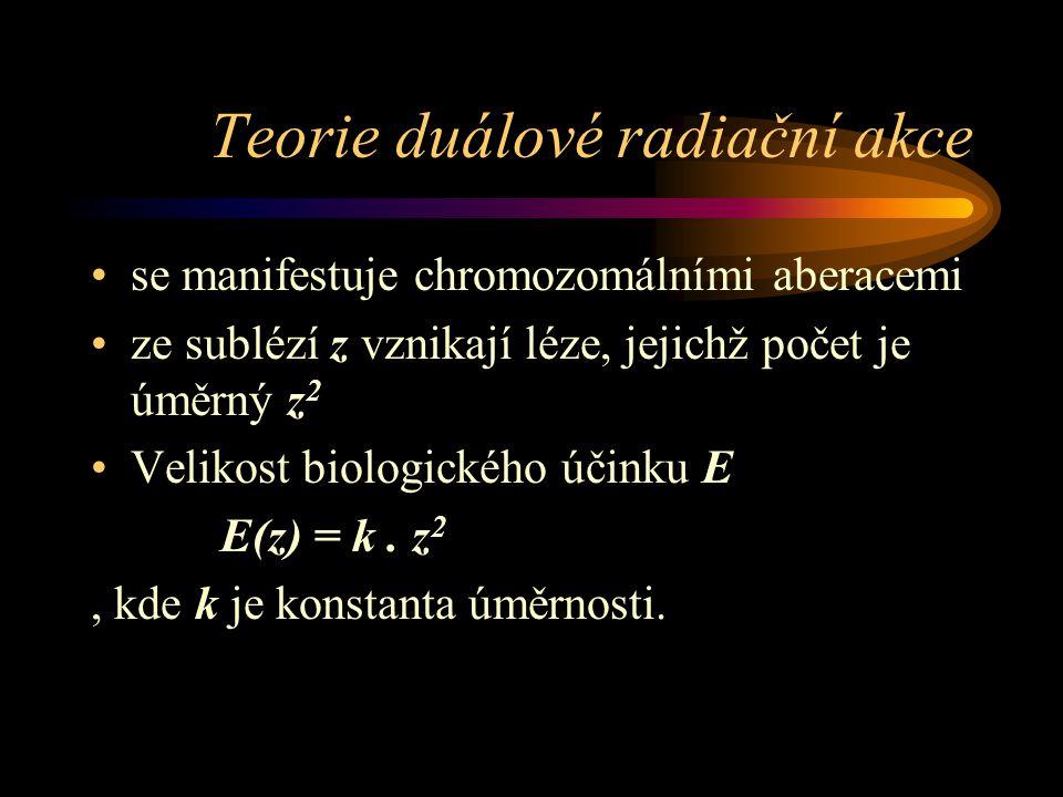 Teorie duálové radiační akce se manifestuje chromozomálními aberacemi ze sublézí z vznikají léze, jejichž počet je úměrný z 2 Velikost biologického úč