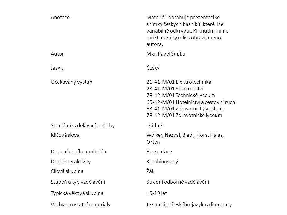 AnotaceMateriál obsahuje prezentaci se snímky českých básníků, které lze variabilně odkrývat.
