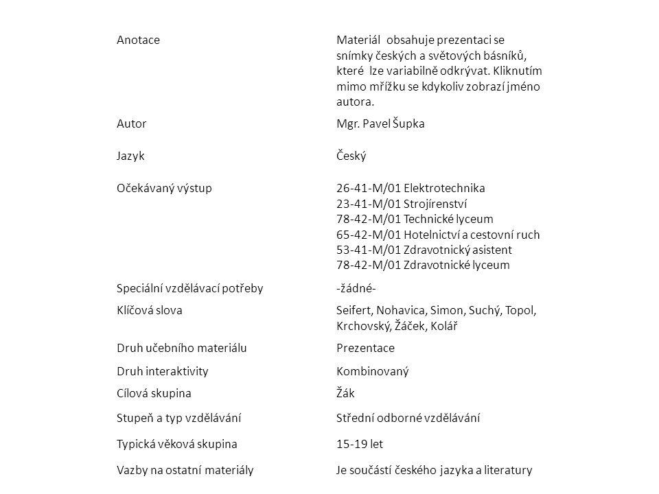 AnotaceMateriál obsahuje prezentaci se snímky českých a světových básníků, které lze variabilně odkrývat.