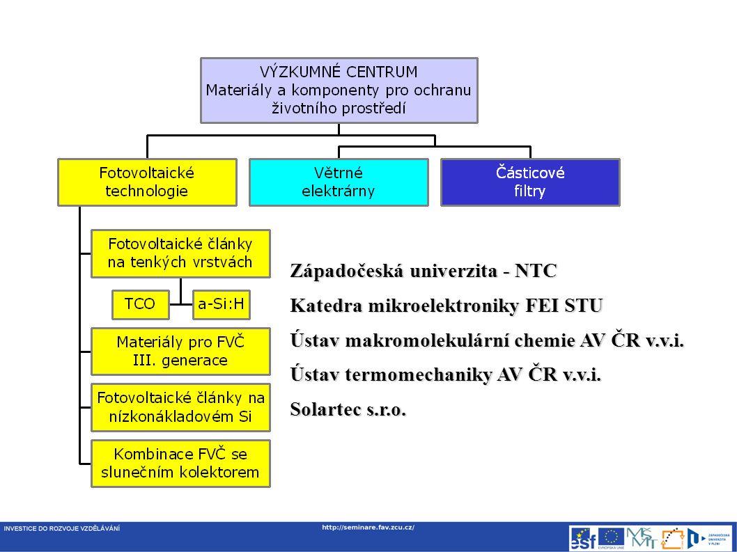 Západočeská univerzita - NTC Katedra mikroelektroniky FEI STU Ústav makromolekulární chemie AV ČR v.v.i.