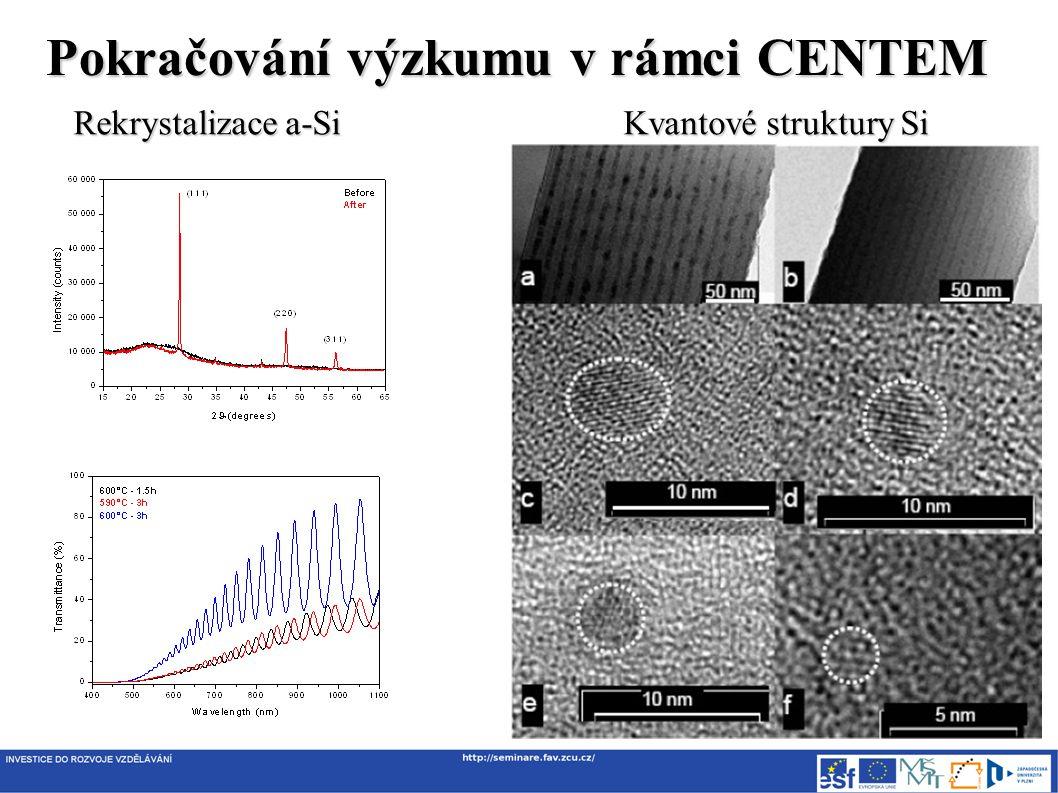 Pokračování výzkumu v rámci CENTEM Rekrystalizace a-Si Kvantové struktury Si
