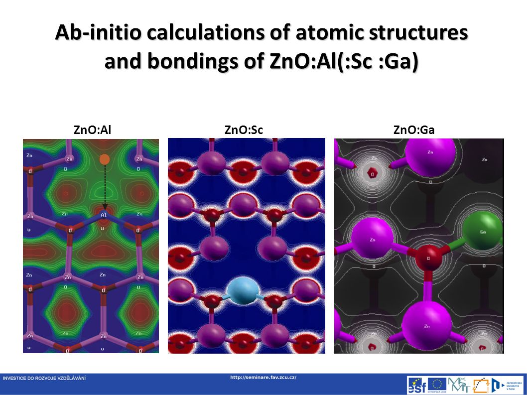 Ab-initio calculations of atomic structures and bondings of ZnO:Al(:Sc :Ga) ZnO:AlZnO:ScZnO:Ga