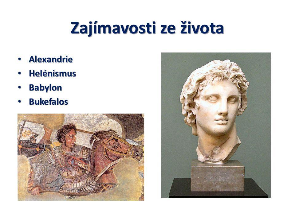 Zajímavosti ze života Alexandrie Alexandrie Helénismus Helénismus Babylon Babylon Bukefalos Bukefalos