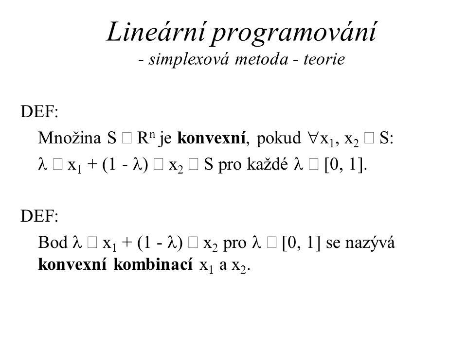 Lineární programování - simplexová metoda - teorie DEF: Množina S  R n je konvexní, pokud  x 1, x 2  S:  x 1 + (1 -  )  x 2  S pro každé  [0, 1].