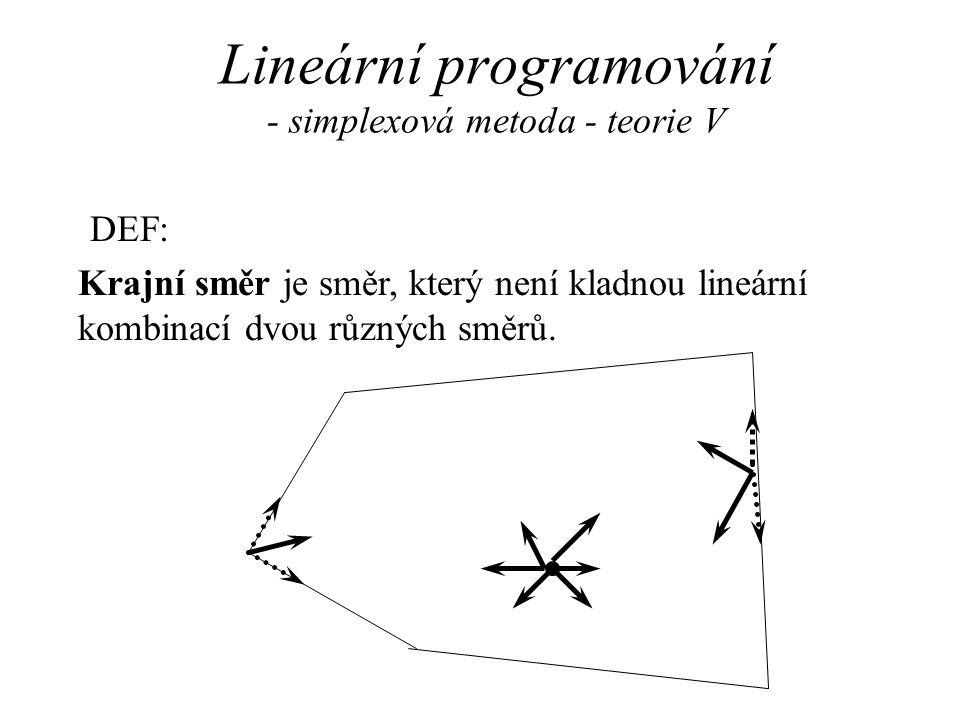 Lineární programování - simplexová metoda - teorie V DEF: Krajní směr je směr, který není kladnou lineární kombinací dvou různých směrů.