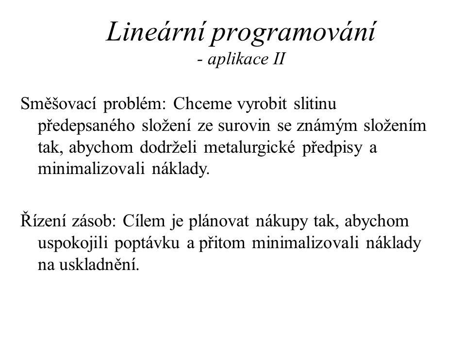 Lineární programování - aplikace II Směšovací problém: Chceme vyrobit slitinu předepsaného složení ze surovin se známým složením tak, abychom dodrželi metalurgické předpisy a minimalizovali náklady.