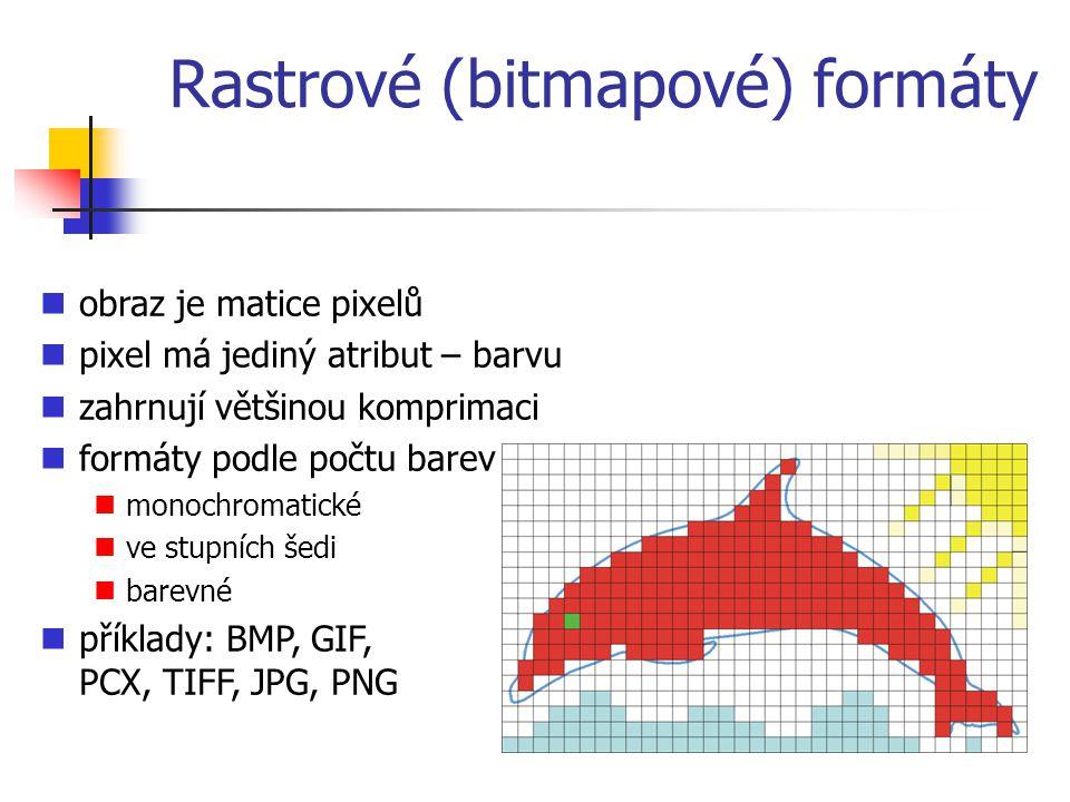 Rastrové (bitmapové) formáty obraz je matice pixelů pixel má jediný atribut – barvu zahrnují většinou komprimaci formáty podle počtu barev monochromatické ve stupních šedi barevné příklady: BMP, GIF, PCX, TIFF, JPG, PNG