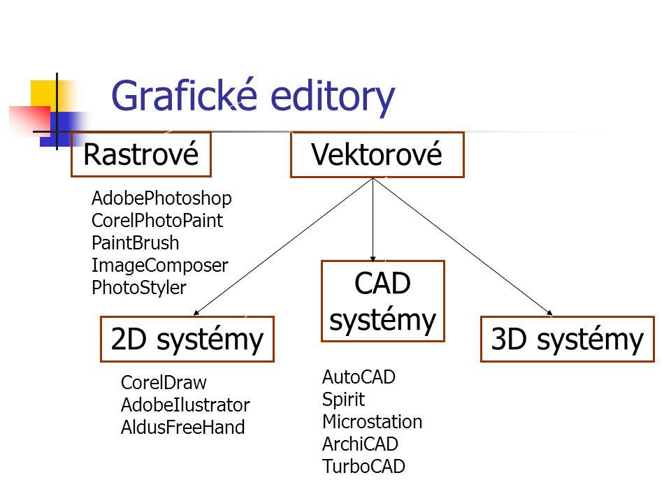 Grafické editory Rastrové AdobePhotoshop CorelPhotoPaint PaintBrush ImageComposer PhotoStyler Vektorové 3D systémy 3D Studio 2D systémy CorelDraw AdobeIlustrator AldusFreeHand CAD systémy AutoCAD Spirit Microstation ArchiCAD TurboCAD
