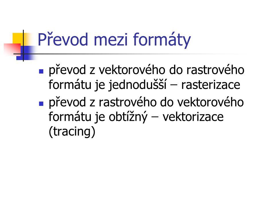 Převod mezi formáty převod z vektorového do rastrového formátu je jednodušší ̶̶ rasterizace převod z rastrového do vektorového formátu je obtížný ̶̶ vektorizace (tracing)