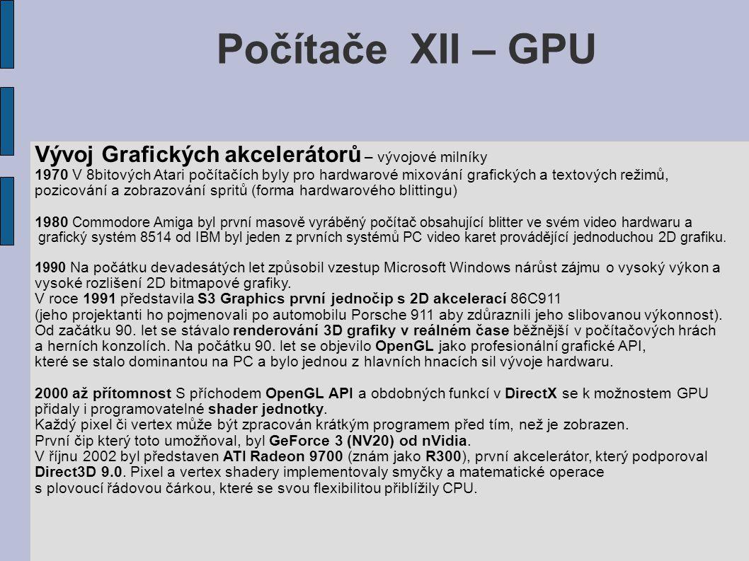 Počítače XII – GPU Vývoj Grafických akcelerátorů – vývojové milníky 1970 V 8bitových Atari počítačích byly pro hardwarové mixování grafických a textových režimů, pozicování a zobrazování spritů (forma hardwarového blittingu) 1980 Commodore Amiga byl první masově vyráběný počítač obsahující blitter ve svém video hardwaru a grafický systém 8514 od IBM byl jeden z prvních systémů PC video karet provádějící jednoduchou 2D grafiku.