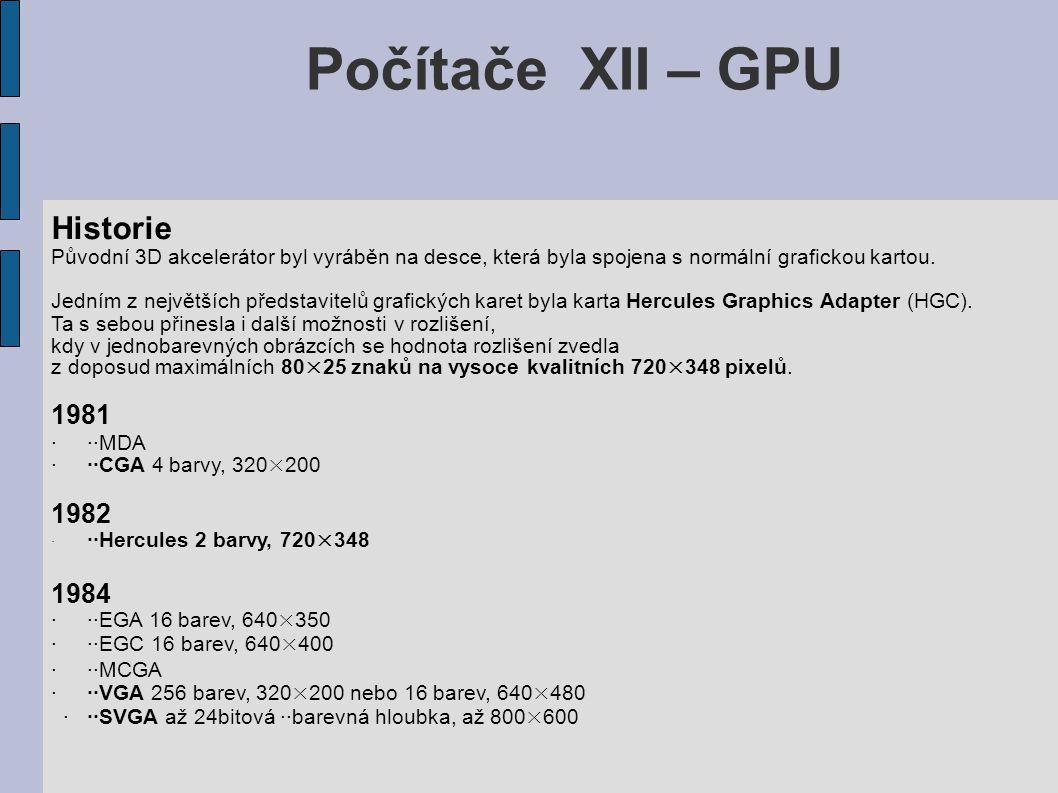 Počítače XII – GPU Historie Původní 3D akcelerátor byl vyráběn na desce, která byla spojena s normální grafickou kartou. Jedním z největších představi