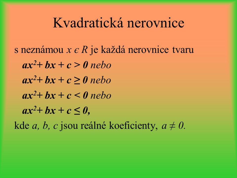 Kvadratická nerovnice s neznámou x є R je každá nerovnice tvaru ax 2 + bx + c > 0 nebo ax 2 + bx + c ≥ 0 nebo ax 2 + bx + c < 0 nebo ax 2 + bx + c ≤ 0
