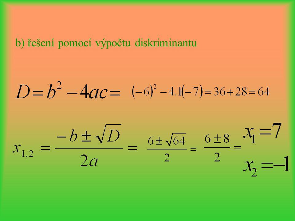 b) řešení pomocí výpočtu diskriminantu