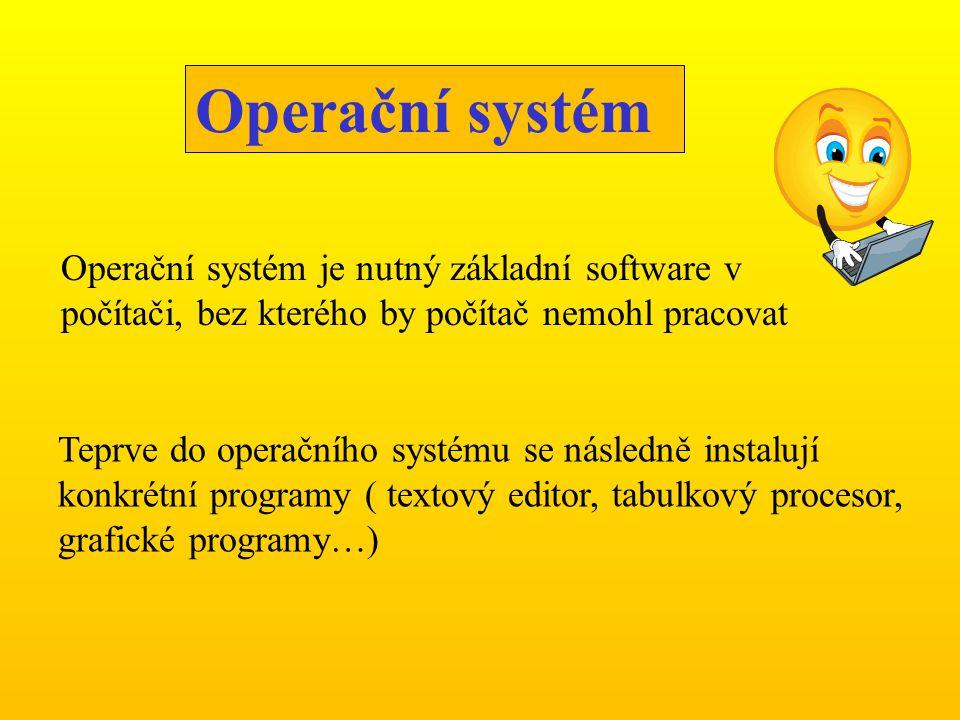 Teprve do operačního systému se následně instalují konkrétní programy ( textový editor, tabulkový procesor, grafické programy…) Operační systém Operač