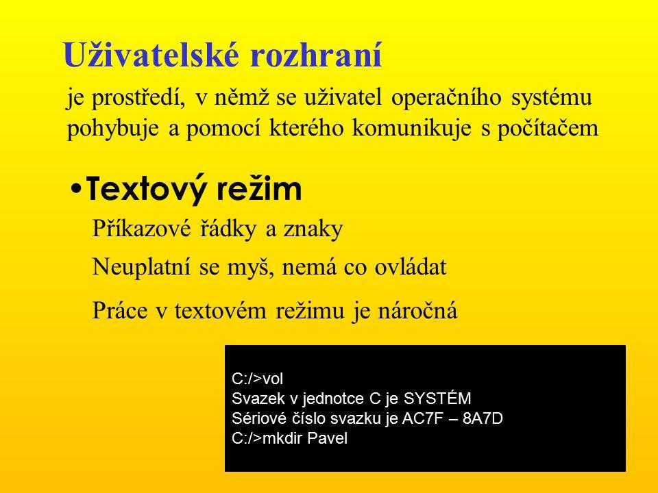 Uživatelské rozhraní je prostředí, v němž se uživatel operačního systému pohybuje a pomocí kterého komunikuje s počítačem Textový režim Příkazové řádk