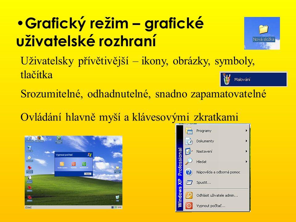Grafický režim – grafické uživatelské rozhraní Uživatelsky přívětivější – ikony, obrázky, symboly, tlačítka Srozumitelné, odhadnutelné, snadno zapamat