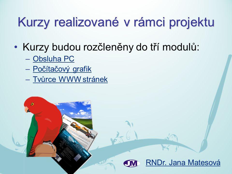 RNDr. Jana Matesová Kurzy realizované v rámci projektu Kurzy budou rozčleněny do tří modulů: –Obsluha PCObsluha PC –Počítačový grafikPočítačový grafik
