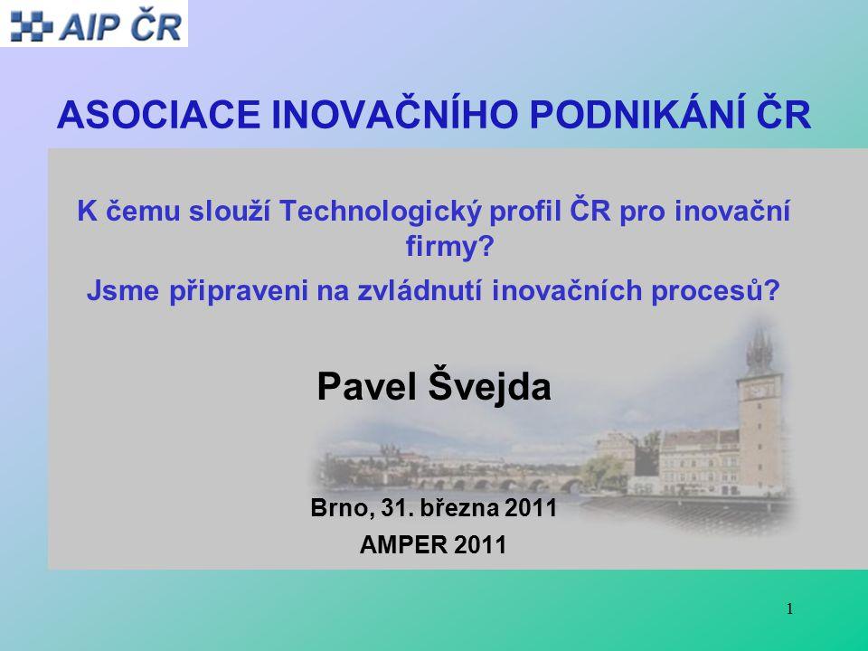 1 ASOCIACE INOVAČNÍHO PODNIKÁNÍ ČR K čemu slouží Technologický profil ČR pro inovační firmy.