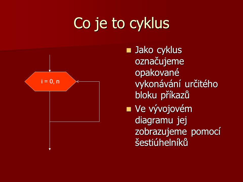 Co je to cyklus Jako cyklus označujeme opakované vykonávání určitého bloku příkazů Jako cyklus označujeme opakované vykonávání určitého bloku příkazů Ve vývojovém diagramu jej zobrazujeme pomocí šestiúhelníků Ve vývojovém diagramu jej zobrazujeme pomocí šestiúhelníků i = 0, n