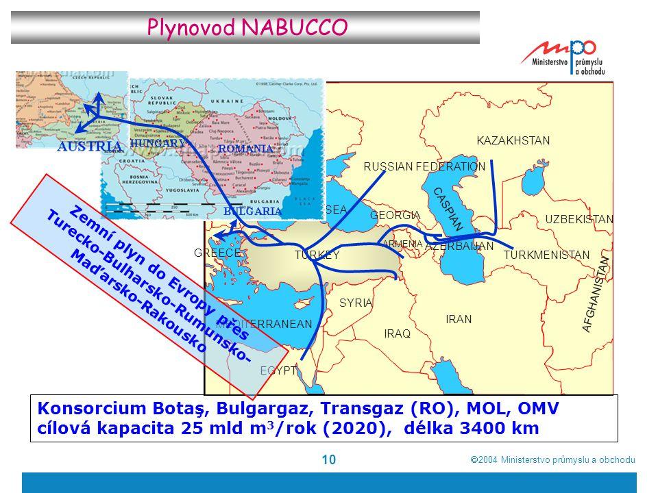  2004  Ministerstvo průmyslu a obchodu 10 RUSSIAN FEDERATION KAZAKHSTAN UZBEKISTAN BLACKSEA MEDITERRANEAN CASPIAN TURKMENISTAN SYRIA IRAN ARMENIA GEORGIA TURKEY IRAQ AZERBAIJAN AFGHANISTAN EGYPT BULGARIA ROMANIA UKRAINE MOLDOVA GREECE Konsorcium Botaş, Bulgargaz, Transgaz (RO), MOL, OMV cílová kapacita 25 mld m 3 /rok (2020), délka 3400 km Plynovod NABUCCO Zemní plyn do Evropy přes Turecko-Bulharsko-Rumunsko- Maďarsko-Rakousko