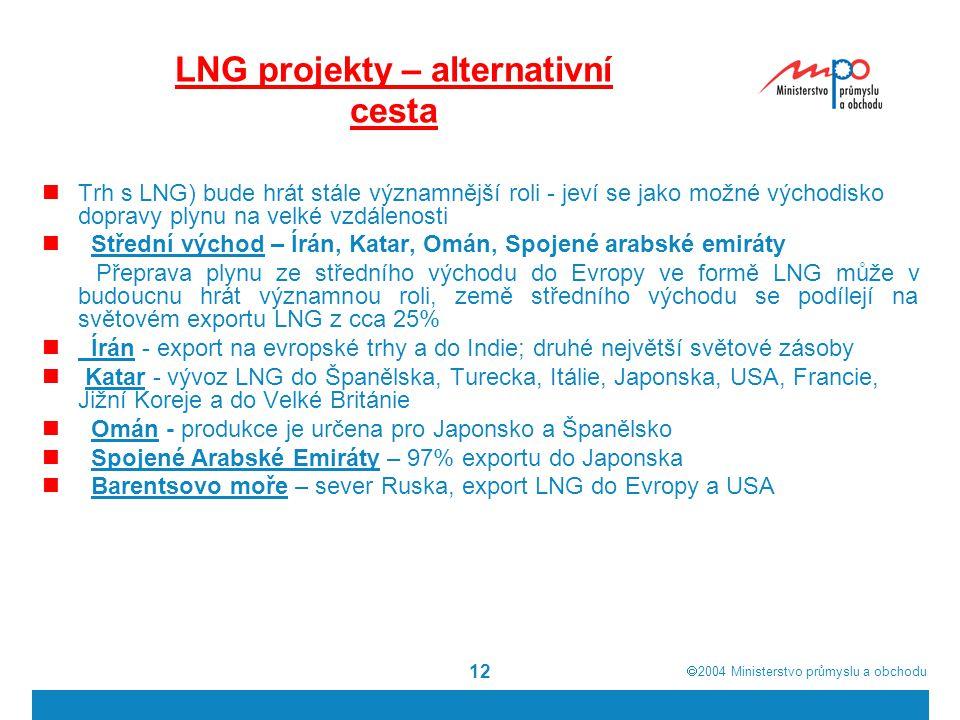  2004  Ministerstvo průmyslu a obchodu 12 LNG projekty – alternativní cesta Trh s LNG) bude hrát stále významnější roli - jeví se jako možné východisko dopravy plynu na velké vzdálenosti Střední východ – Írán, Katar, Omán, Spojené arabské emiráty Přeprava plynu ze středního východu do Evropy ve formě LNG může v budoucnu hrát významnou roli, země středního východu se podílejí na světovém exportu LNG z cca 25% Írán - export na evropské trhy a do Indie; druhé největší světové zásoby Katar - vývoz LNG do Španělska, Turecka, Itálie, Japonska, USA, Francie, Jižní Koreje a do Velké Británie Omán - produkce je určena pro Japonsko a Španělsko Spojené Arabské Emiráty – 97% exportu do Japonska Barentsovo moře – sever Ruska, export LNG do Evropy a USA