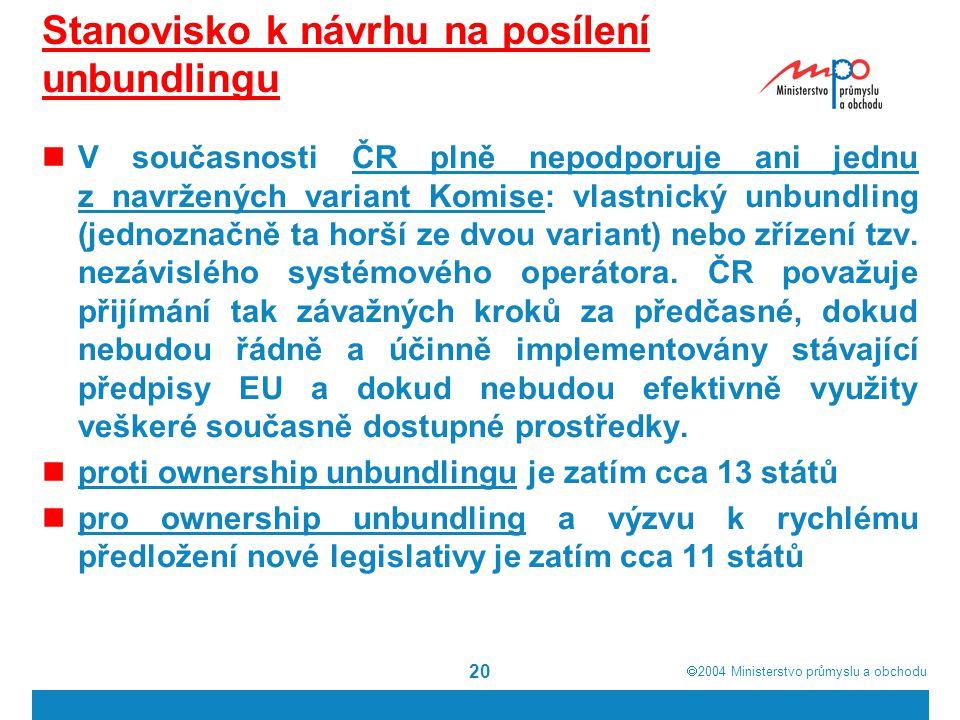  2004  Ministerstvo průmyslu a obchodu 20 Stanovisko k návrhu na posílení unbundlingu V současnosti ČR plně nepodporuje ani jednu z navržených variant Komise: vlastnický unbundling (jednoznačně ta horší ze dvou variant) nebo zřízení tzv.