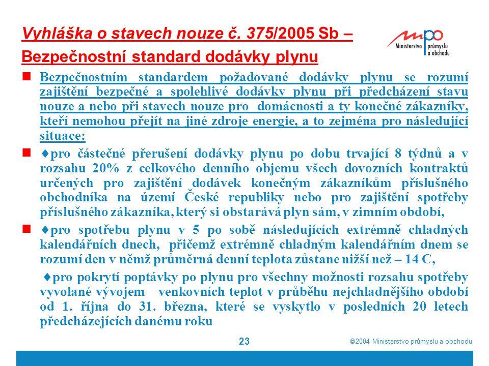  2004  Ministerstvo průmyslu a obchodu 23 Vyhláška o stavech nouze č.